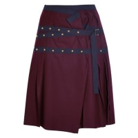 sacaiPleated Stud-embellished Wool Mini Skirt - Plum