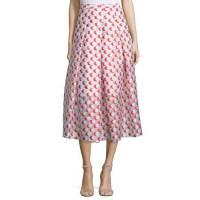 Sachin & BabiPleated Polka-Dot Midi Skirt, Tomato