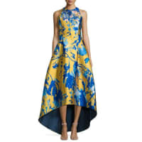 Sachin & BabiSleeveless Floral Jacquard High-Low Gown