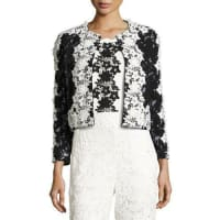 Sachin & BabiTwo-Tone Floral Lace Open-Front Jacket, Onyx
