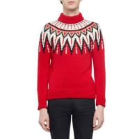 Saint LaurentFair Isle Mock-Neck Sweater, Red Multi