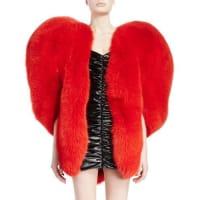Saint LaurentHeart-Shaped Fur Cape, Red