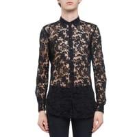 Saint LaurentSheer Embroidered-Lace Long-Sleeve Shirt, Black