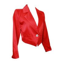 Saint LaurentVintage 1990s Yves Saint Laurent Red Satin Bolero Jacket - 36