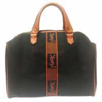 Saint LaurentVintage Yves Saint Laurent Black And Brown Canvas Duffle Handbag, Travel Bag