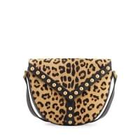 Saint LaurentY Studs Leather Crossbody Bag, Black/Leopard