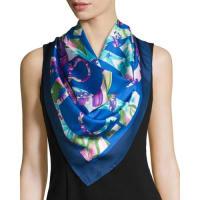 Salvatore FerragamoAlabastro Floral Gancini Silk Scarf, Blue/Multicolor