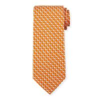Salvatore FerragamoPheasant Silk Twill Tie, Orange