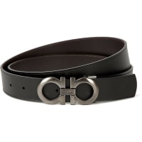 Salvatore FerragamoReversible Leather Logo Belt, Mens, Size: 42, Blk Brown Gunmetal