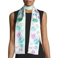 Salvatore FerragamoTuli Skinny Floral Silk Scarf, Mint