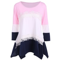 Sammydress3/4 Sleeve Color Block Asymmetric T Shirt