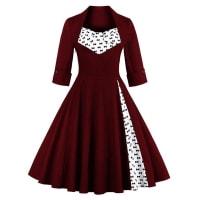 SammydressBowknot Print Paneled Swing Dress
