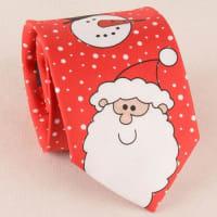 SammydressCarnival Santa Claus Snowman Print Christmas Tie