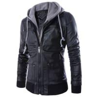 SammydressDe moda para adelgazar con capucha Faux Twinset Costilla empalme manga larga de la PU de la chaqueta de cuero para los hombres