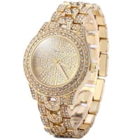 SammydressGeneva Luxurious Diamond Quartz Watch Women Wristwatch Round Dial Stainless Steel Strap