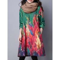 SammydressLong Sleeve Loose Vintage Printed Dress