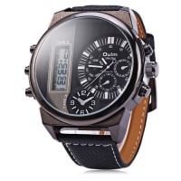 SammydressOulm 3597 Male Quartz Watch Dual Movt Multifunctional Wristwatch