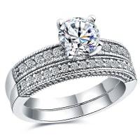 SammydressRhinestone Embellished Engagement Rings