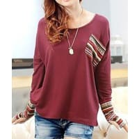 SammydressScoop Neck Long Sleeves Striped Splicing Casual T Shirt For Women