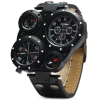 SammydressSHIWEIBAO J3104 Male 2 - movt Quartz Watch with Compass and Thermometer Leather Watchband
