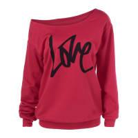 SammydressSkew Collar Love Funny Sweatshirt