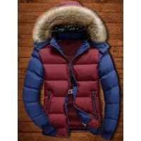 SammydressTwo Tone Zip Up Detachable Faux Fur Hood Quilted Jacket