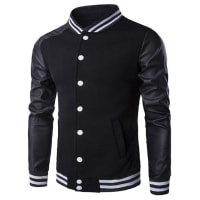 SammydressVarsity Striped Faux Leather Insert Button Up Jacket