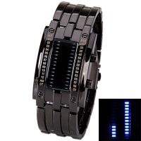 SammydressImpermeable reloj con LED marca la hora indique correa de acero para hombres
