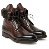 SantoniShearling-lined Panelled Leather Boots - Dark brown