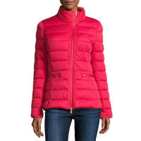 Save The DuckAsymmetric-Zip Puffer Jacket, Tango Red