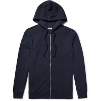 SchiesserAnton Waffle-knit Cotton And Linen-blend Zip-up Hoodie - Blue
