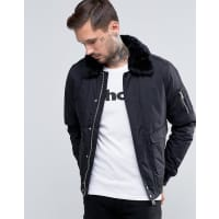 Schott NYCAir Bomber Jacket Faux Fur Collar - Black