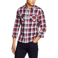 Schott NYCShranchml Shirt, Camisa para Hombre, Red (Red Checks), X-Large