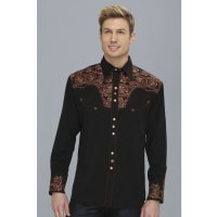 ScullyFloral Tooled Shirt (Black) Mens Long Sleeve Button Up