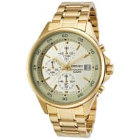 SeikoSKS482P1 Mens Gold Dial Watch With Stainless Steel Strap