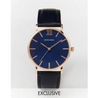 SekondaRose Gold Detail Navy Leather Strap Watch Exclusive to ASOS - Navy