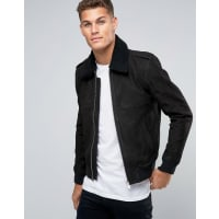 SelectedLeather Flight Jacket with Removeable Borg Collar - Black