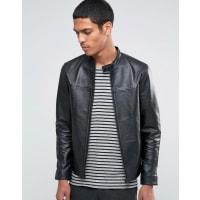 SelectedLeather Biker Jacket - Black