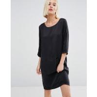 SelectedSinca Shift Dress in Sandwashed Silk - Black