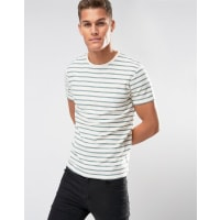 SelectedT-shirt with Woven Stripe - Beige