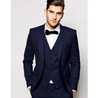 SelectedTuxedo Jacket With Jacquard in Skinny Fit - Blue