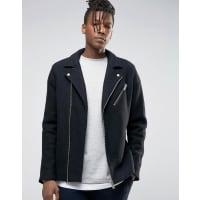 SelectedWool Biker Jacket - Black