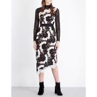 SelfridgesSELF-PORTRAIT Asymmetric guipure-lace midi dress, Womens, Size: 12, Black