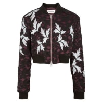 Self PortraitCropped Guipure Lace And Satin Bomber Jacket - Black