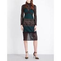 SelfridgesSELF-PORTRAIT Forest Fitted mesh midi dress, Womens, Size: 10, Forest Green