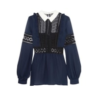 Self PortraitGeorgette And Guipure Lace Blouse - Navy