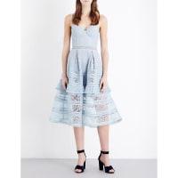 SelfridgesSELF-PORTRAIT Paisley lace midi dress, Womens, Size: 12, Icy Blue
