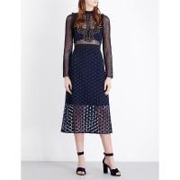 SelfridgesSELF-PORTRAIT Star Repeat lace midi dress, Womens, Size: 6, Blue