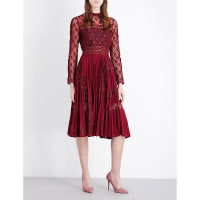 SelfridgesSELF-PORTRAIT Symm lace and chiffon midi dress, Womens, Size: 6, Red