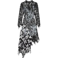Self PortraitVine Asymmetric Guipure Lace Midi Dress - Black